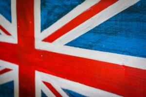 Union Jack flag painted on wood