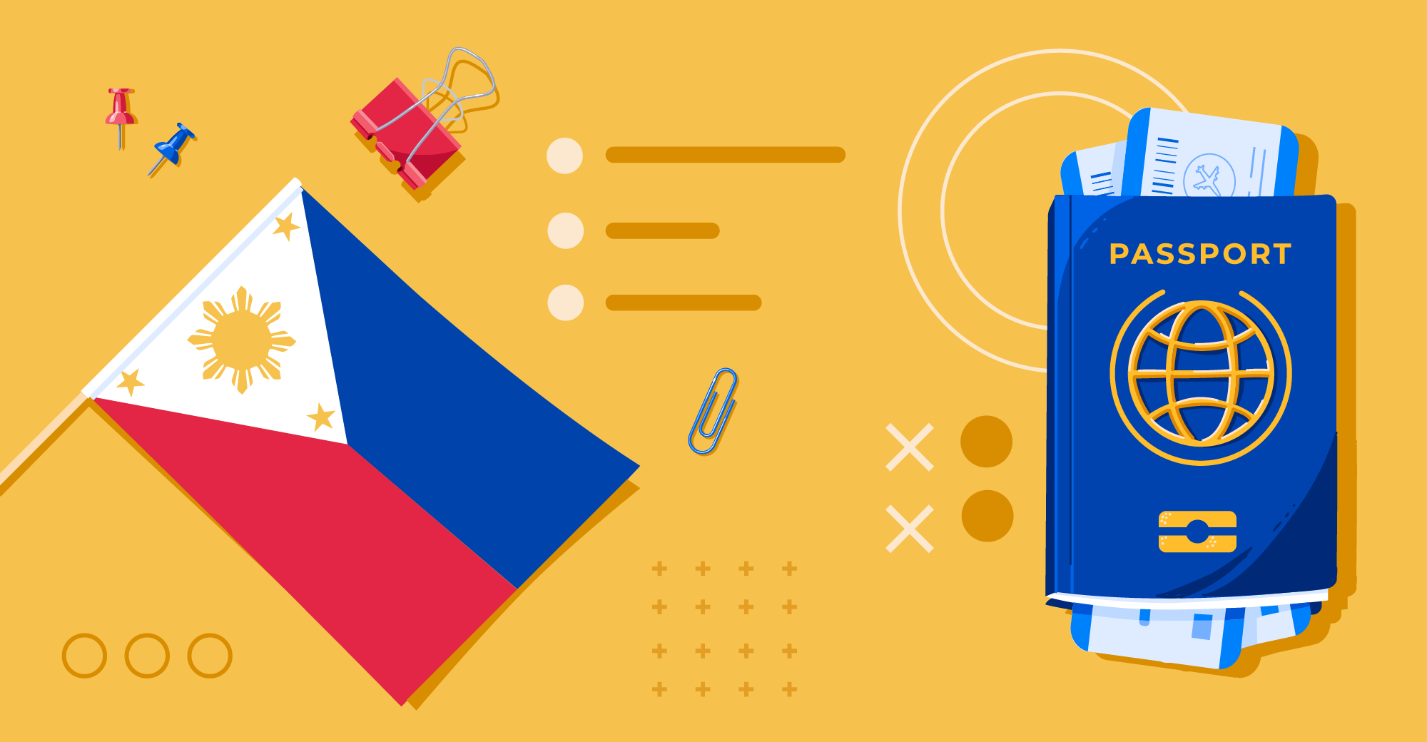 Illustration showing Philippines flag and travel document