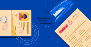 Illustration of passport and study permit