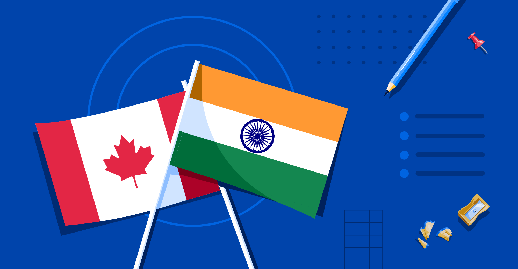 Illustration of Canada and India flags
