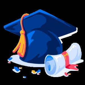 Illustration of graduation cap and diploma