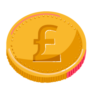 Illustration of coin with British pound symbol