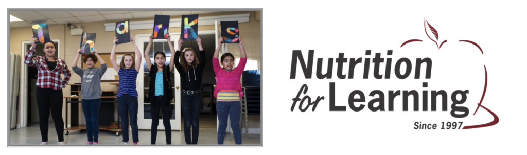 """Children holding letters spelling """"thanks"""" and Nutrition for Learning logo"""