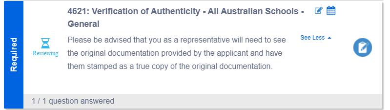 Verification of Authenticity Requirement