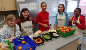 Young students with healthy food