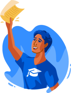 Illustration of male student holding paper in air