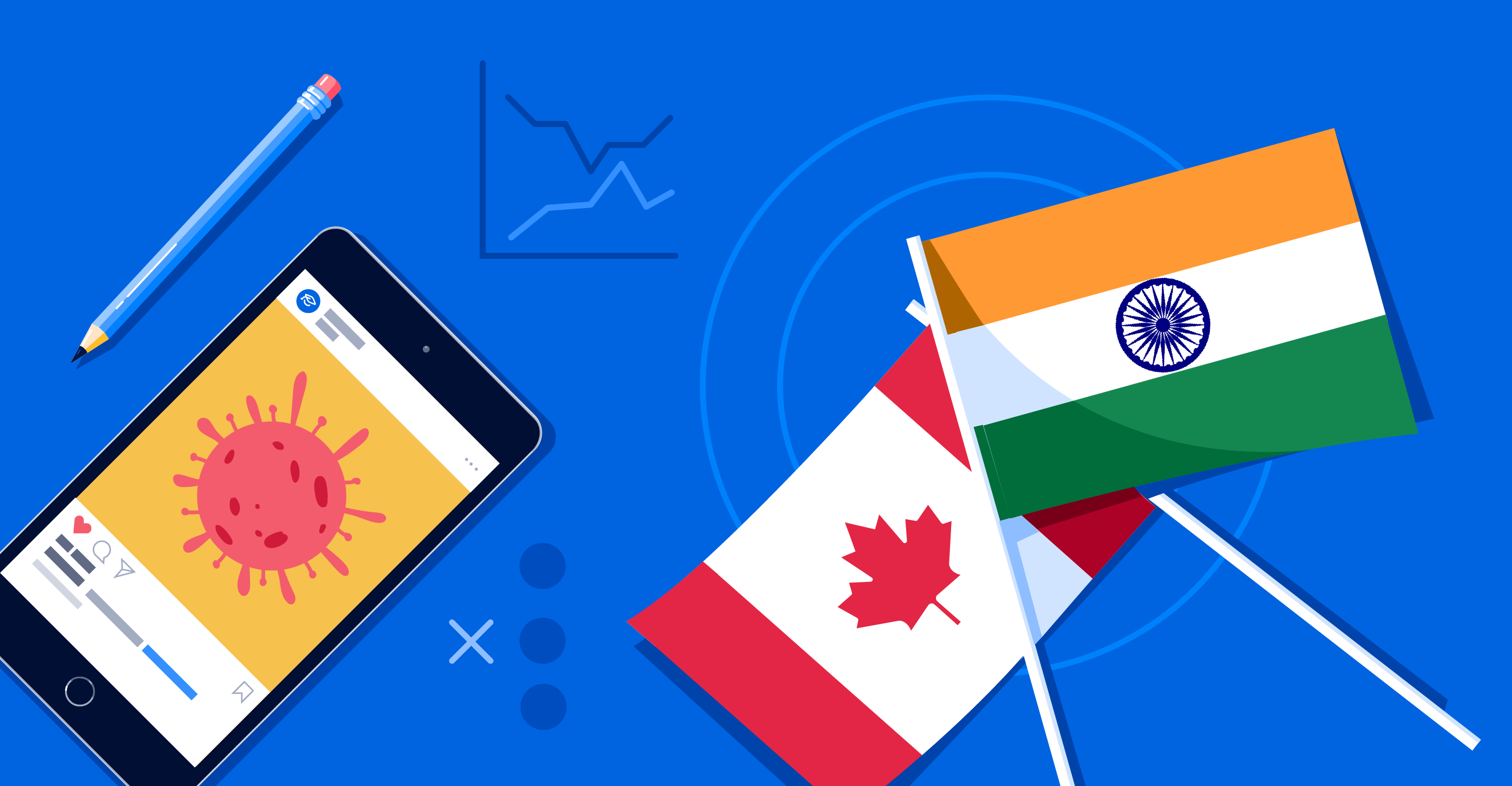 Illustration of Canada and India flags and device