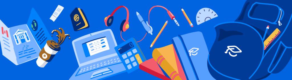 Illustration of school supplies