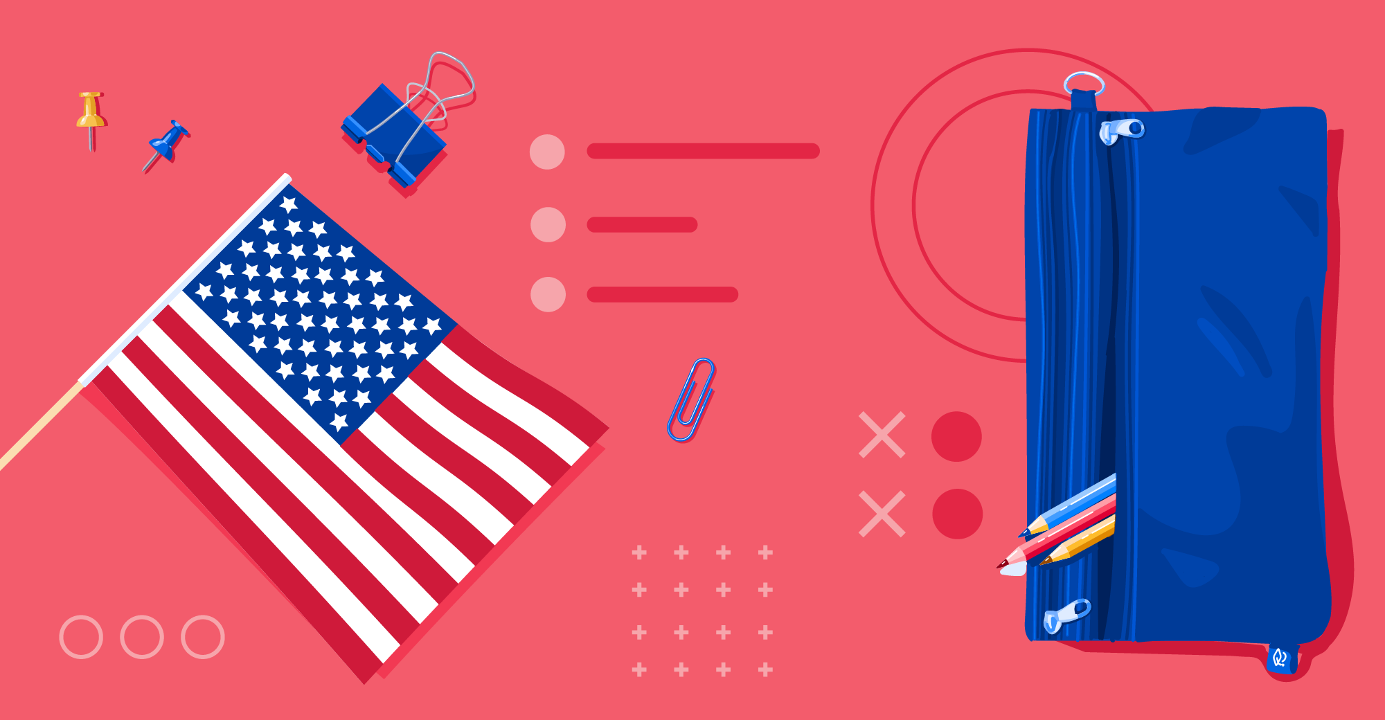 Illustration of US flag and pencil case