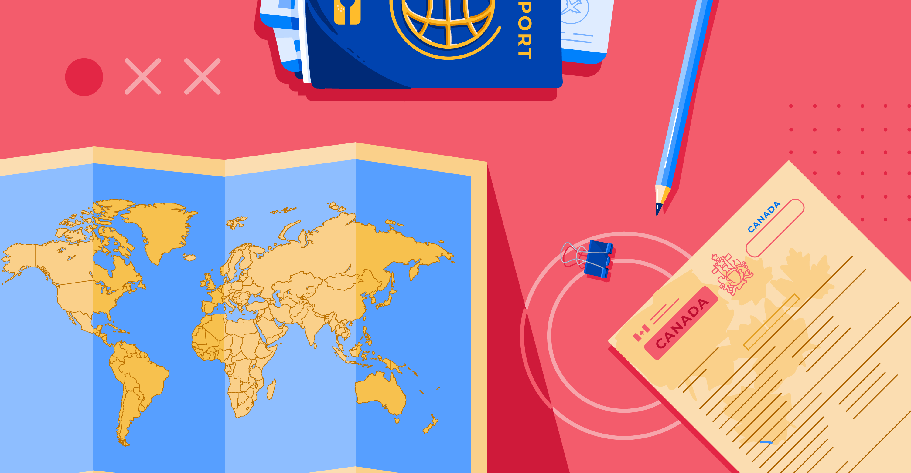 Illustration of map, study permit, and travel documents