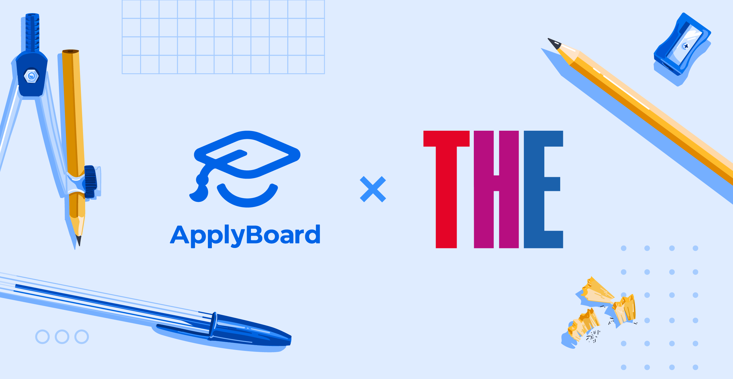 ApplyBoard and Times Higher Education logos with school supplies