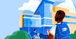 Illustration of male student in front of school
