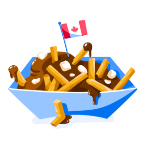 Illustration of poutine with Canadian flag