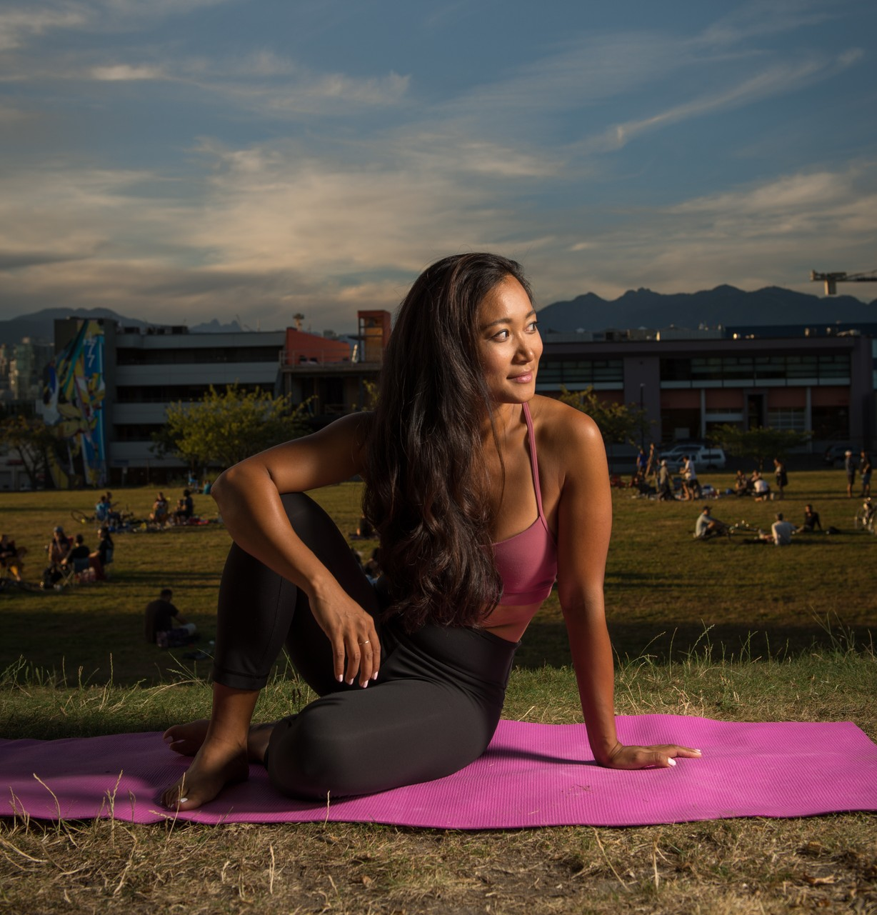 Diana Chang doing yoga