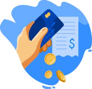 Illustration of hand holding credit card and coins