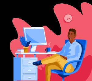 Illustration of male student at desk