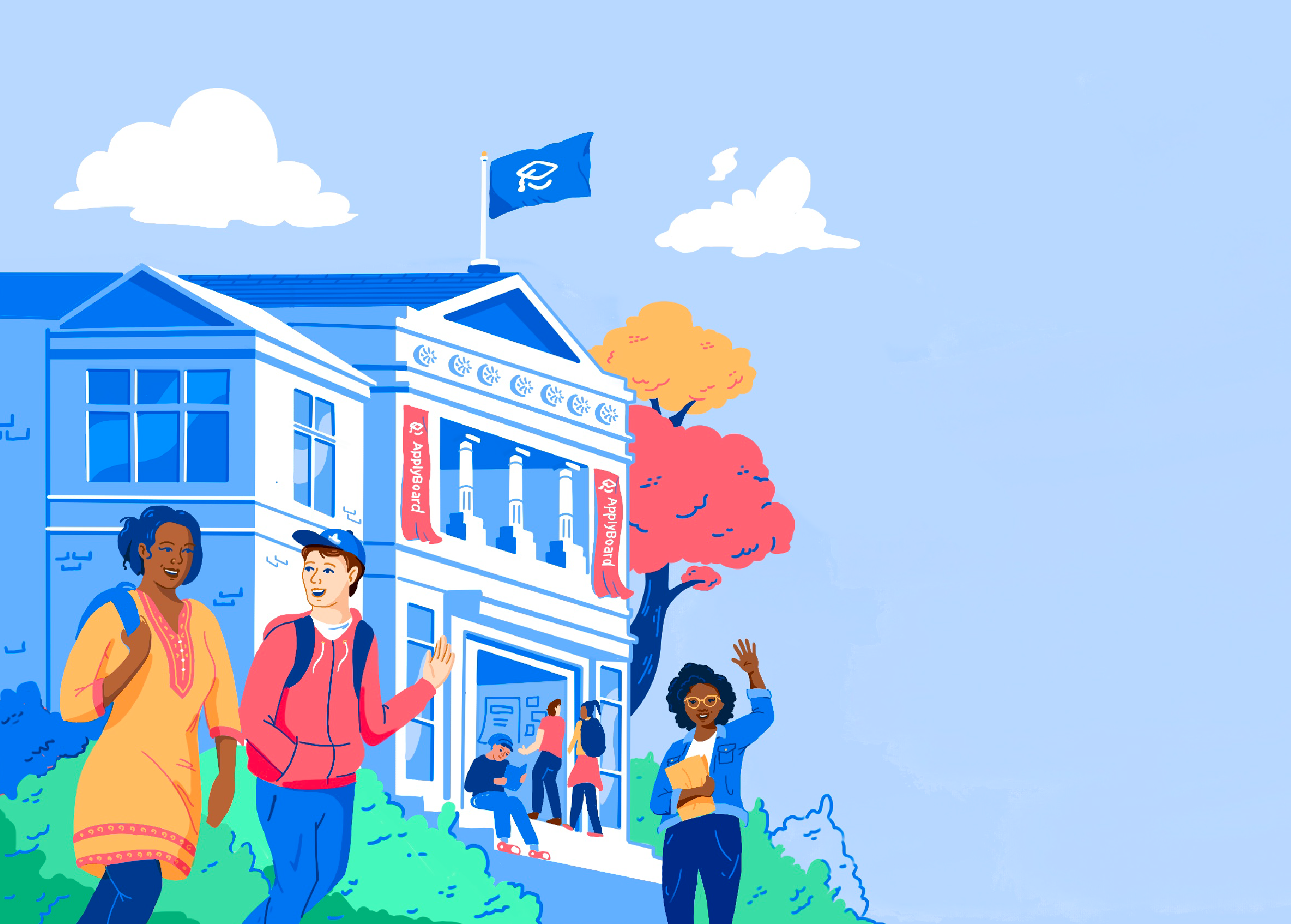 Illustration of students on campus