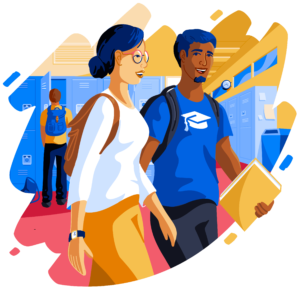 Illustration of two students walking in school