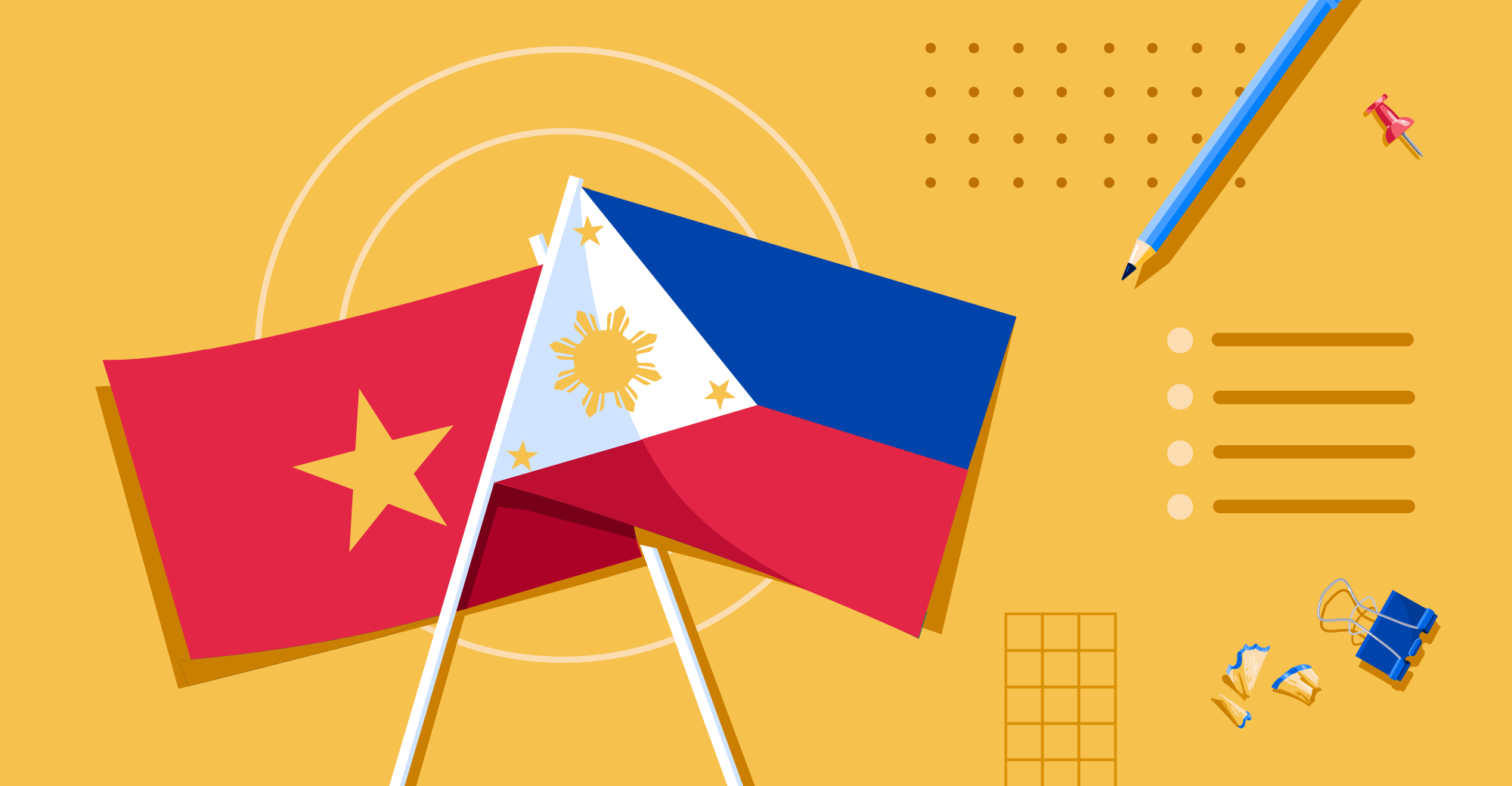 Illustration of Vietnamese and Filipino flags