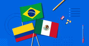 Illustration of Brazilian, Mexican, and Colombian flags beside some school supplies.