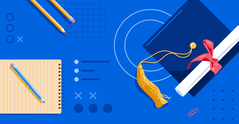 Illustration of graduation cap, diploma, and school supplies