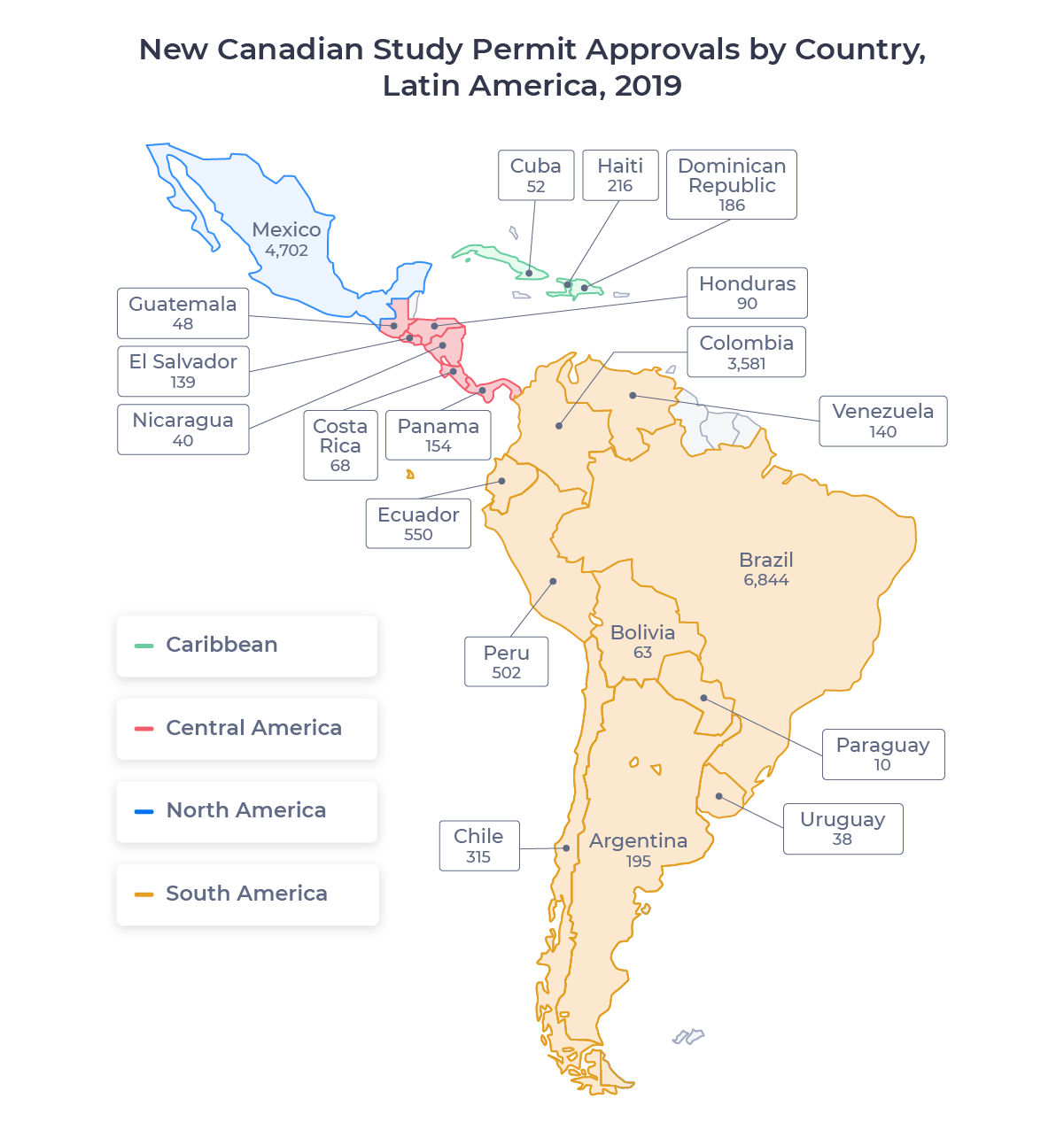 Map showing the countries of Latin America. Includes Argentina, Bolivia, Brazil, Chile, Colombia, Costa Rica, Cuba, Dominican Republic, Ecuador, El Salvador, Guatemala, Haiti, Honduras, Mexico, Nicaragua, Panama, Paraguay, Peru, Uruguay, and Venezuela.