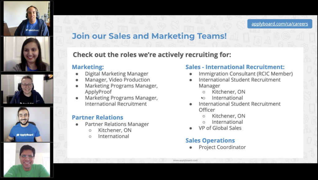 ApplyBoard staff hosting a hiring webinar