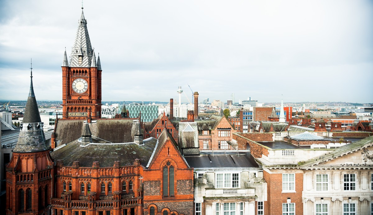 Tops of University of Liverpool buildings