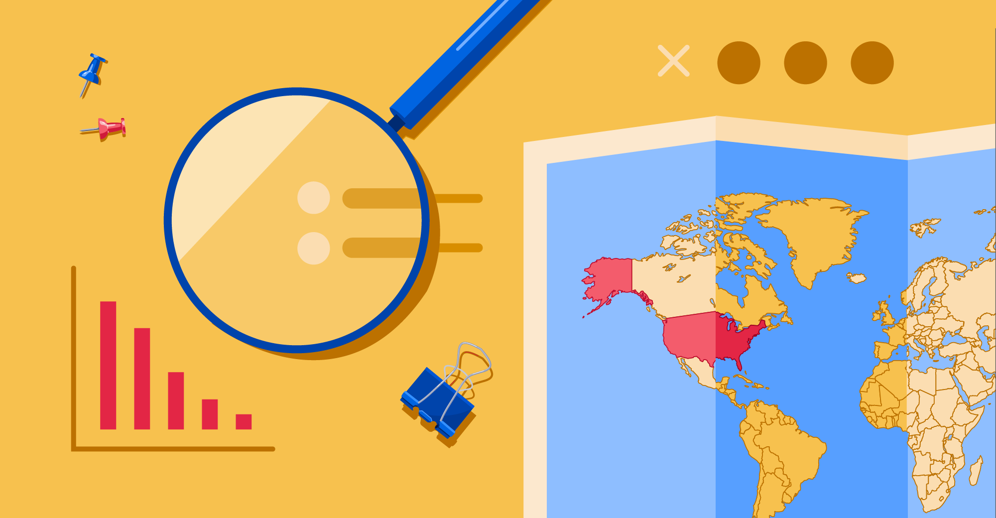 A magnifying glass and a map of the world with the United States highlighted