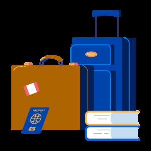 Illustration of luggage, books, and passport