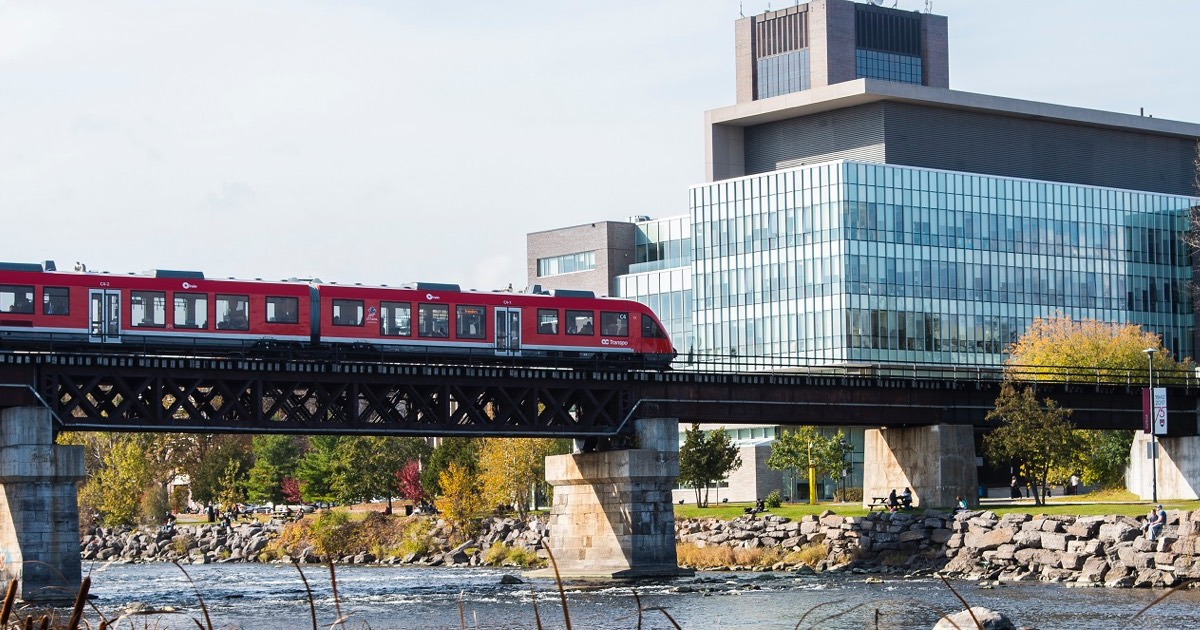 Carleton University campus with train passing by