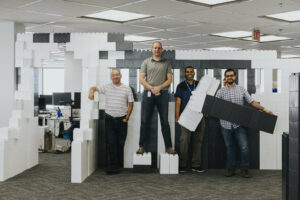 ApplyBoard Staff in Office with Giant Lego Blocks