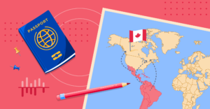 A map of Latin America with arrows pointing at Canada next to a pencil and passport