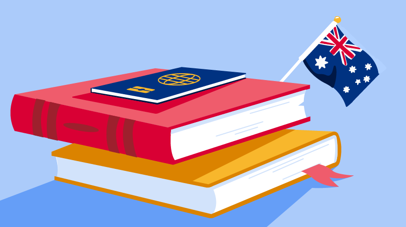 Illustration of stack of books and passport with Australian flag