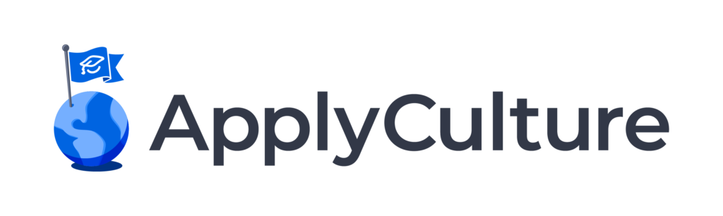 ApplyCulture logo, featuring an ApplyBoard flag on an image of the world