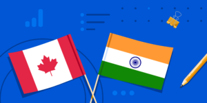 A Canadian flag, an Indian flag, and some school supplies.