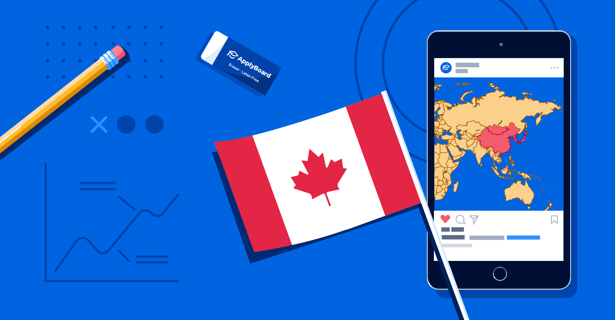 A Canadian flag, a smartphone showing a map of East Asia, and some school supplies