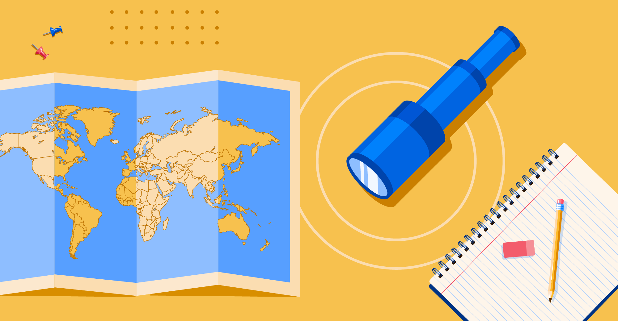 A map of the world, a telescope, and some school supplies