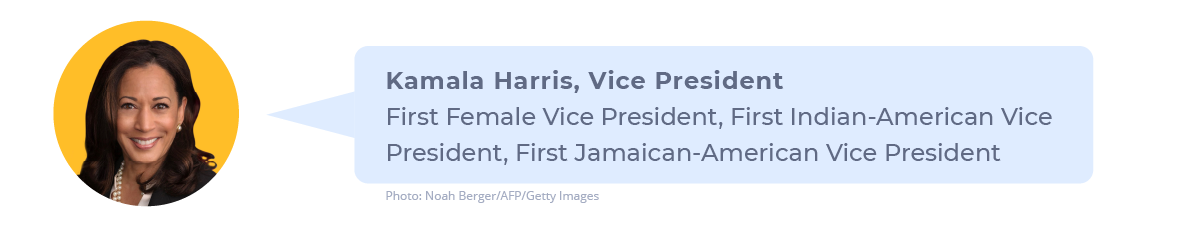 Picture of Vice President Kamala Harris noting that she will be the first female Vice President