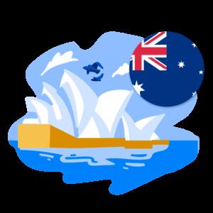 Illustration of Sydney Opera House and Australian flag
