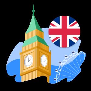 Illustration of Big Ben, London Eye, and Union Jack