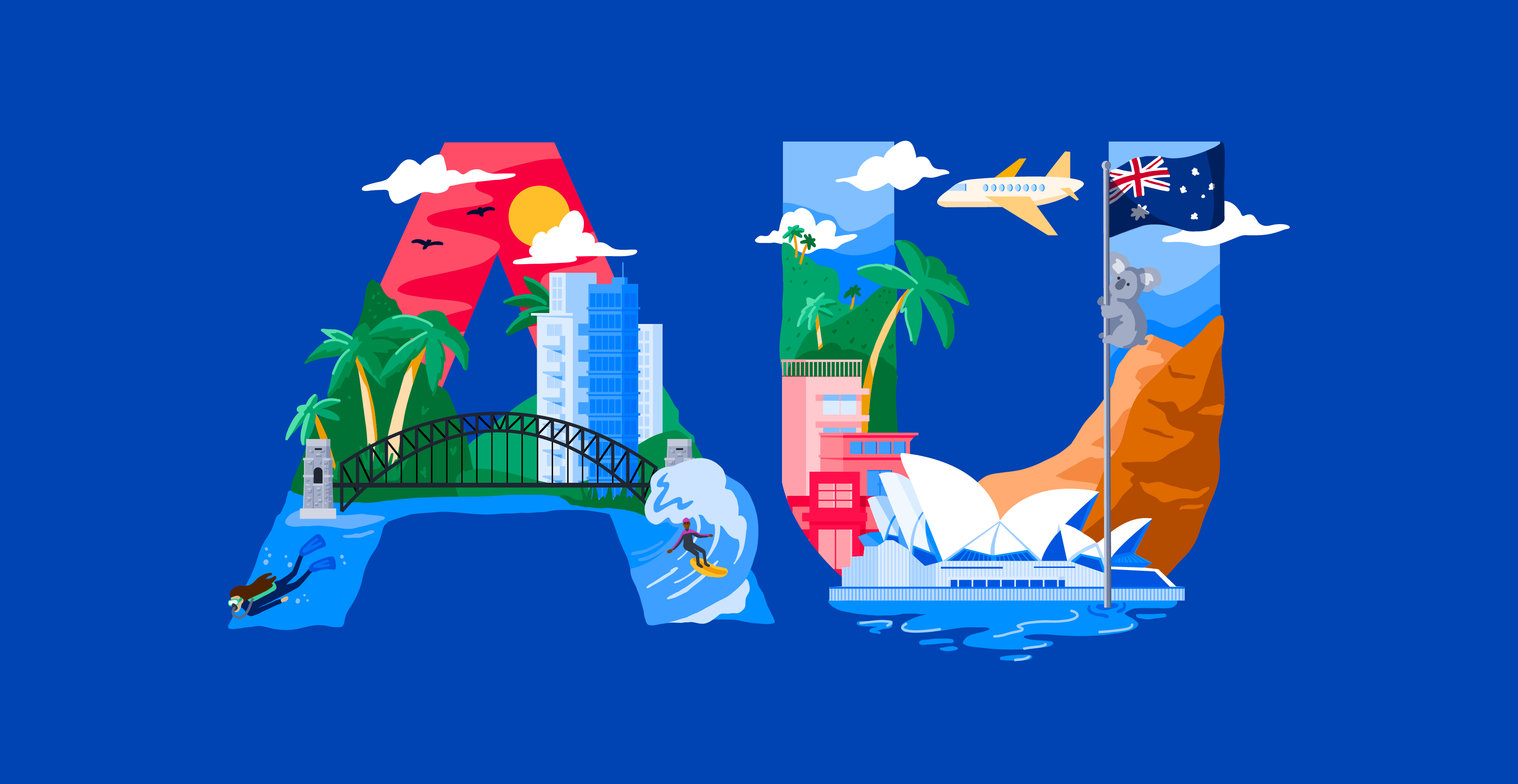 Graphic with the letters A and U and various Australian imagery