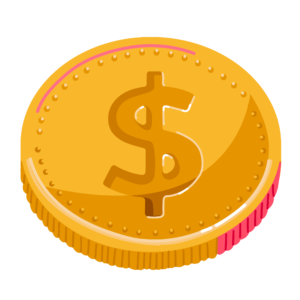 Illustration of gold coin with dollar symbol