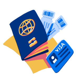 Illustration of passport, visa, and other travel documents