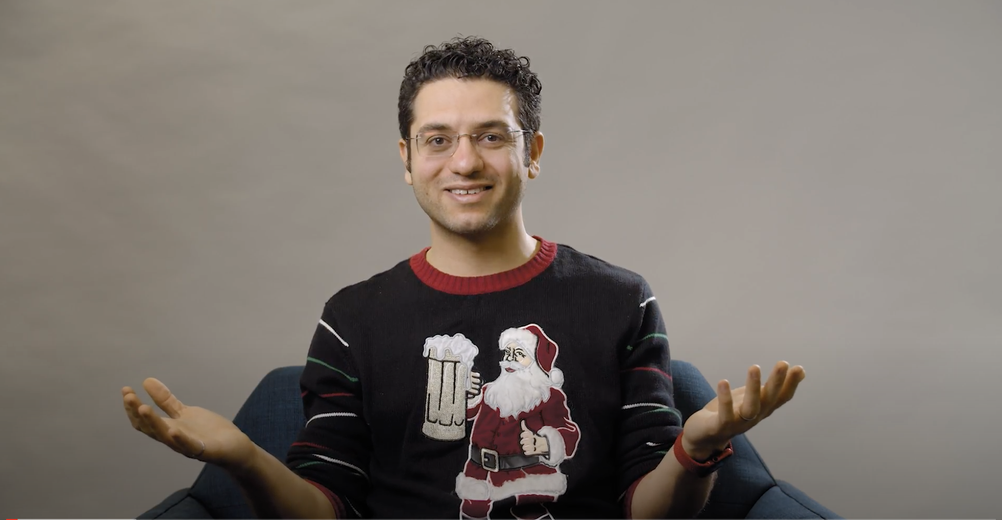ApplyBoard CEO and Co-Founder in ugly holiday sweater