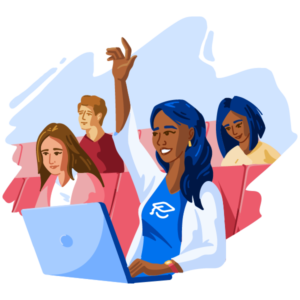 Illustration of female student with hand raised