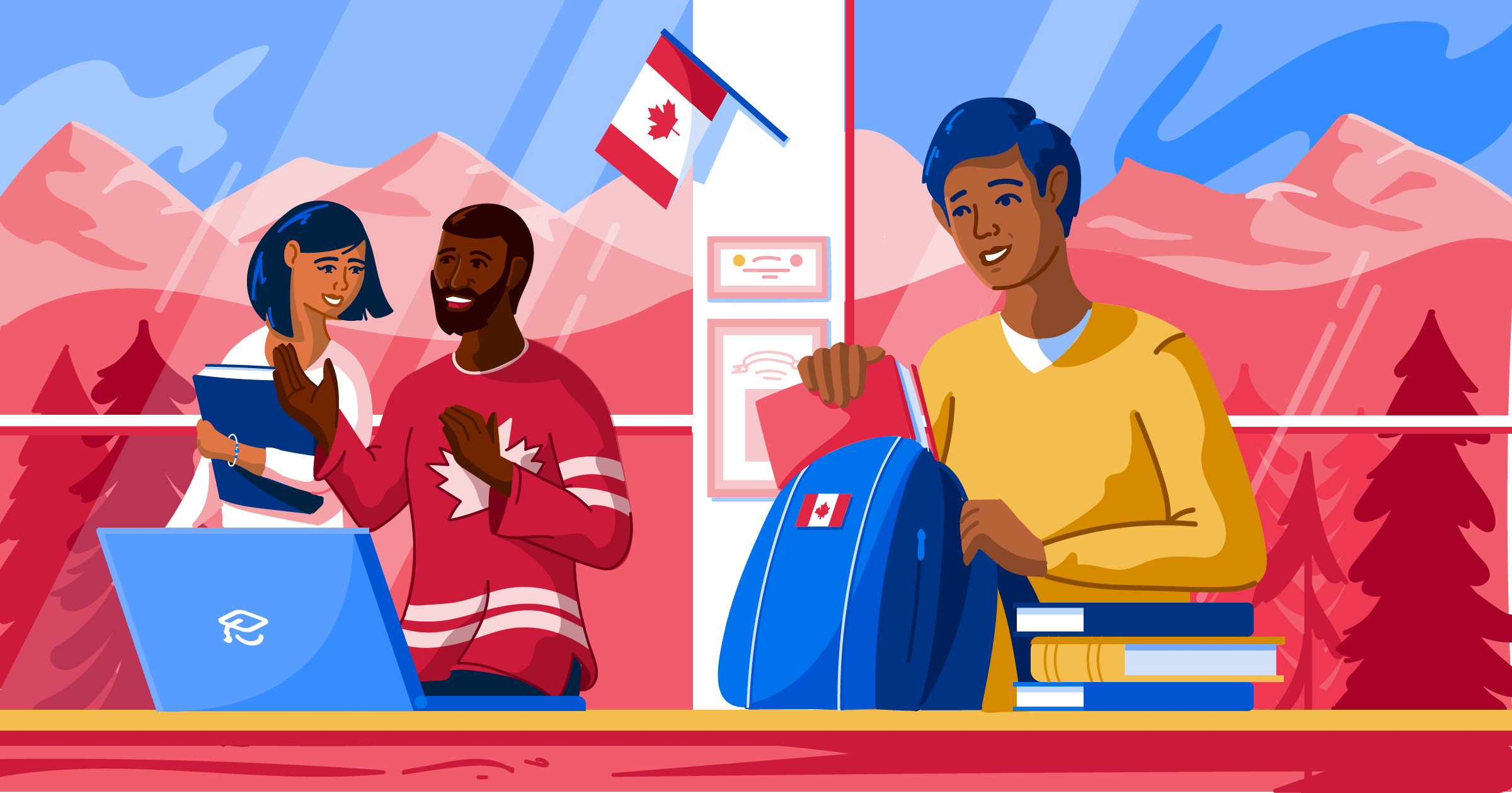 Illustration of students in Canada