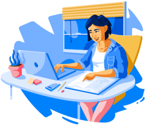 Illustration of female student studying online