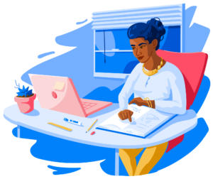Illustration of female student working at laptop