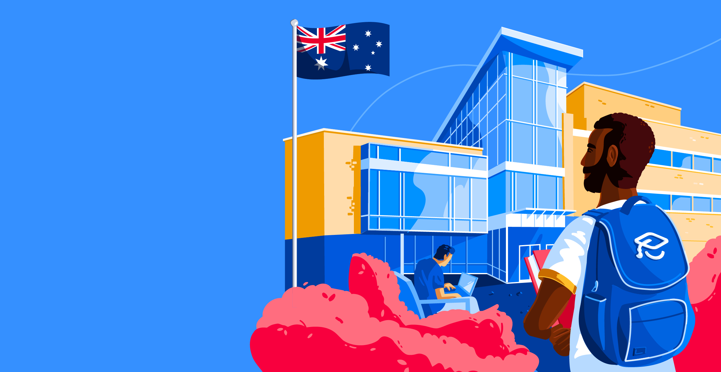 Illustration of male student in front of school with Australian flag